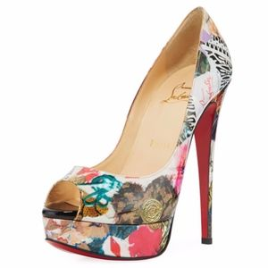 New Christian Louboutin Lady Peep Trash Print 39.5